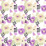 Seamless digital brush stroke flowers pattern Royalty Free Stock Images