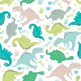 Dinosaurs in a clearing. Seamless dinosaur pattern in pastel colors. For registration of children`s clothing, fabrics, postcards,. Seamless dinosaur pattern in vector illustration