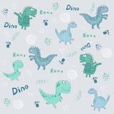 Seamless dinosaurs pattern. Cute different shape dinozaurus
