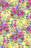 Seamless ditsy floral pattern with bright flowers. Seamless colorful flowers on yellow background. Artistic acrylic and oil pattern Royalty Free Stock Photo