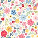 Seamless ditsy floral pattern with cute little flowers on white background. Vector illustration. Print for fabric, paper, wallpaper, wrapping design royalty free illustration