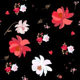 Seamless ditsy floral pattern with roses and cosmos flowers, hearts and stars isolated on black background in vector. vector illustration