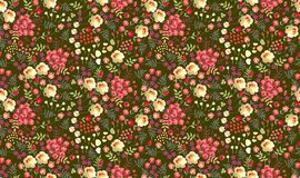 Seamless ditsy floral pattern with roses, tulips, leaves and petals on dark green background. Vector summer design.  royalty free illustration