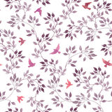 Seamless ditsy pattern - cute watercolor violet leaves, red and pink retro flying birds vector illustration