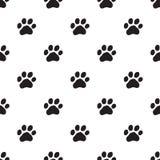 Seamless dog paw pattern on white Stock Photo