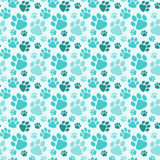 Seamless Dog Paw Prints Background. Water blue dog paw prints background. Seamless pattern Royalty Free Stock Images