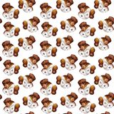 Seamless doggy watercolor pattern of puppy portraits of white with brown dog jack russell terrier heads on a white background for vector illustration