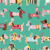 Seamless Dogs pattern. Vector drawing Stock Photos