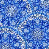 Seamless doily watercolor vector gzhel pattern. Decorative white Royalty Free Stock Photos