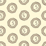 Seamless dollar in an octagon. Seamless texture with dollar signs in an octagonal nut Royalty Free Stock Photo