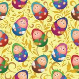 Seamless, dolls and floral pattern. Seamless background, Russian traditional national wooden dolls Matreshka in the form of Easter eggs and floral pattern Stock Photography