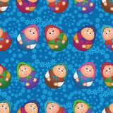 Seamless, dolls and floral pattern. Seamless background, Russian traditional national wooden dolls Matreshka in the form of Easter eggs and blue floral pattern Royalty Free Stock Image