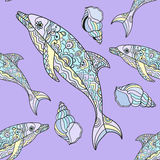 Seamless dolphin pattern. Vector seamless dolphin pattern with hand drawn dolphin doodle illustrations. Indian tribal design Royalty Free Stock Photos