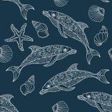 Seamless dolphin pattern Royalty Free Stock Photos