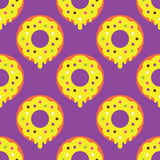 Seamless donut pattern. Yellow texture white design pattern background pink art  illustration decoration isolated snack color, food cake sweet sugar delicious Stock Photo