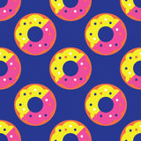 Seamless donut pattern. Yellow texture white design pattern background pink art  illustration decoration isolated snack color, food cake sweet sugar delicious Stock Image