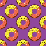 Seamless donut pattern. Yellow texture white design pattern background pink art  illustration decoration isolated snack color, food cake sweet sugar delicious Royalty Free Stock Image