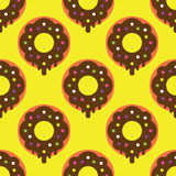 Seamless donut pattern. Yellow texture white design pattern background pink art  illustration decoration isolated snack color, food cake sweet sugar delicious Stock Photography