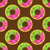 Seamless donut pattern. Yellow texture white design pattern background pink art  illustration decoration isolated snack color, food cake sweet sugar delicious Royalty Free Stock Images