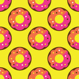 Seamless donut pattern. Yellow texture white design pattern background pink art  illustration decoration isolated snack color, food cake sweet sugar delicious Royalty Free Stock Photo