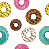 Vector nice seamless pattern with colorful donuts. royalty free illustration