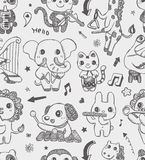 Seamless doodle animal music band pattern backgrou Royalty Free Stock Image