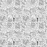 Seamless doodle animal playing music pattern Royalty Free Stock Image