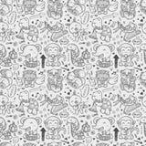 Seamless doodle animal playing music pattern. Cartoon  illustration Royalty Free Stock Image