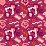 Seamless doodle art pattern vector illustration in red backgroun royalty free illustration