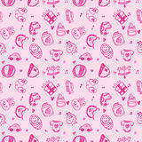 Seamless doodle baby pattern background Royalty Free Stock Image