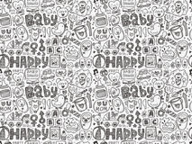Seamless doodle baby pattern Royalty Free Stock Photo