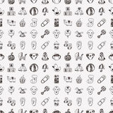 Seamless doodle baby pattern Stock Photo