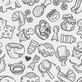 Seamless doodle baby toy pattern Stock Image