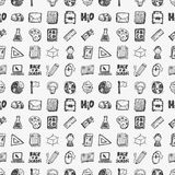 Seamless doodle back to school element pattern background Stock Photo