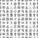 Seamless doodle back to school element pattern background Stock Image