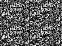 Seamless doodle back to school pattern Royalty Free Stock Photos
