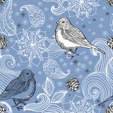 Seamless doodle background bird and floral elements Royalty Free Stock Image
