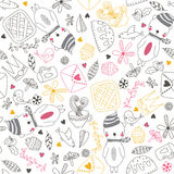Seamless doodle background with cute bear. Cheerful seamless pattern with bear , bird, tea, cake and other cute things.Seamless pattern can be used for Stock Photography