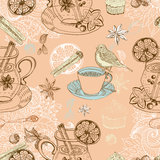 Seamless doodle background with mulled warm wine Royalty Free Stock Images