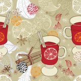 Seamless doodle background with mulled warm wine Royalty Free Stock Image