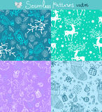 Seamless doodle background set. For Christmas or New Year design Stock Image