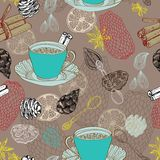 Seamless doodle background with tea. And decorative elements for design Royalty Free Stock Photos