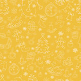 Seamless doodle backgrounds, Christmas, New Year, winter holidays pattern. Stock Photo