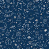 Seamless doodle backgrounds, Christmas, New Year, winter holidays pattern. Stock Images