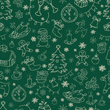 Seamless doodle backgrounds, Christmas, New Year, winter holidays pattern. Royalty Free Stock Photography