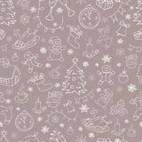 Seamless doodle backgrounds, Christmas, New Year, winter holidays pattern. Royalty Free Stock Photos