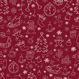 Seamless doodle backgrounds, Christmas, New Year, winter holidays pattern. Royalty Free Stock Images