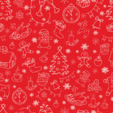 Seamless doodle backgrounds, Christmas, New Year, winter holidays pattern. Stock Photos