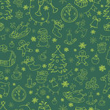 Seamless doodle backgrounds, Christmas, New Year, winter holidays pattern. Royalty Free Stock Photo