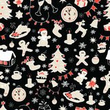Seamless doodle backgrounds, Christmas, New Year, winter holidays pattern. Stock Image